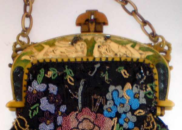 Asian beaded purse celluloid purses