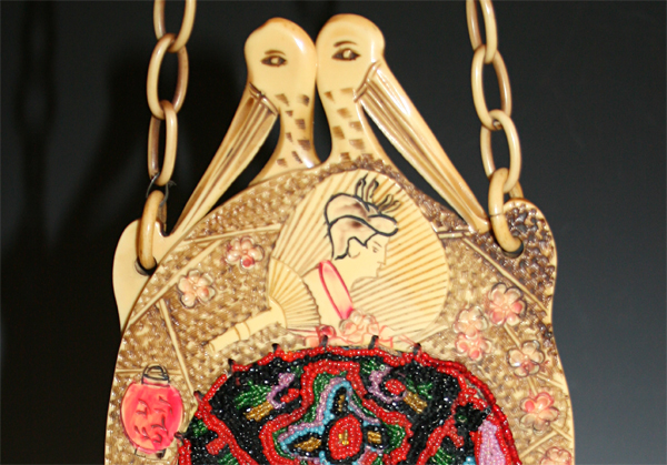 Geisha, Crane and Fans celluloid purse